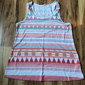 Cute pastel geometric patterned cotton tank top!